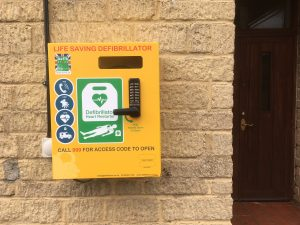 Defibrillator on Village Hall