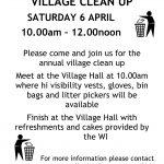 Village Clean Up Poster – Saturday 6 April 19
