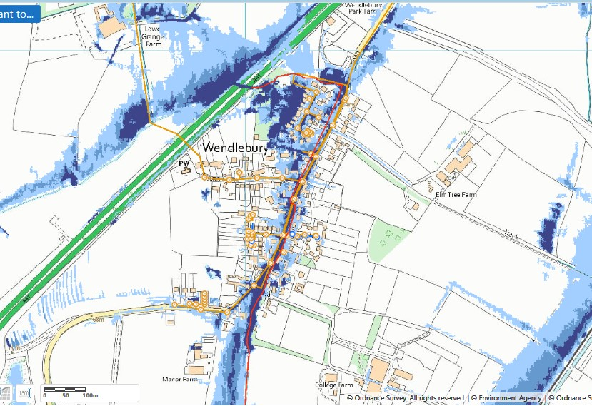 Map of sewer network Thames Water and surface water flood risk