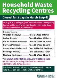 Waste Centre Closure Dates